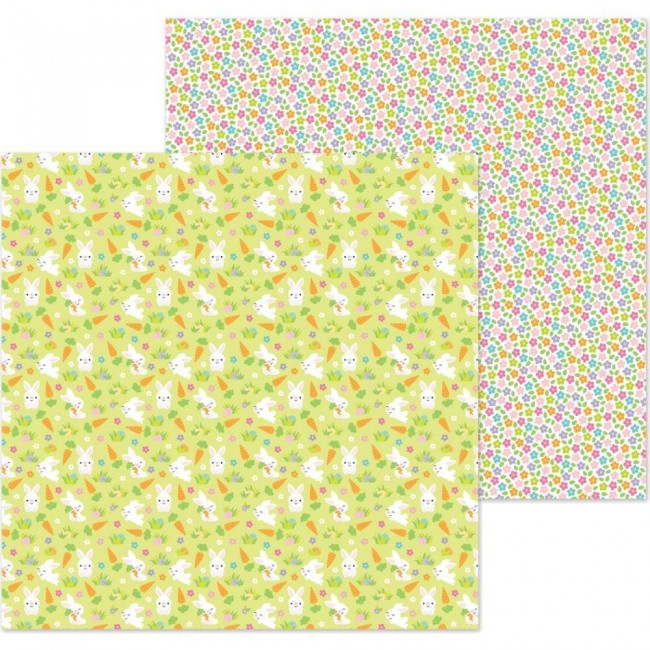 Papel Estampado Doble Cara 12x12 Hoppy Easter Bunny Babies