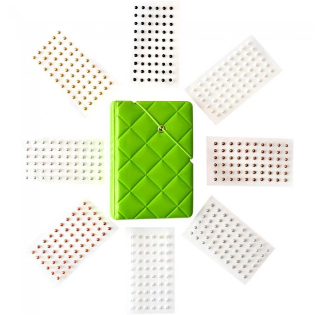 Set Bling Book Green   Pearls