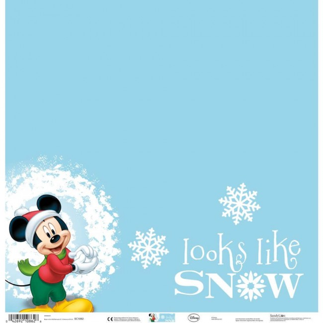 Papel Estampado Una Cara 12x12 - Mickey Looks Like Snow