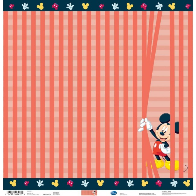 Papel Estampado Una Cara 12x12 - Mickey Stripes