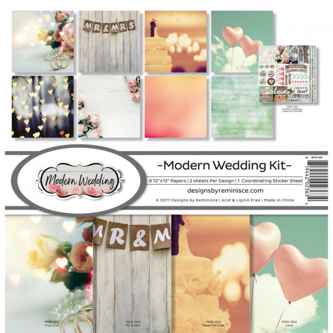 Kit Papeles Estampados 12x12 Modern Wedding
