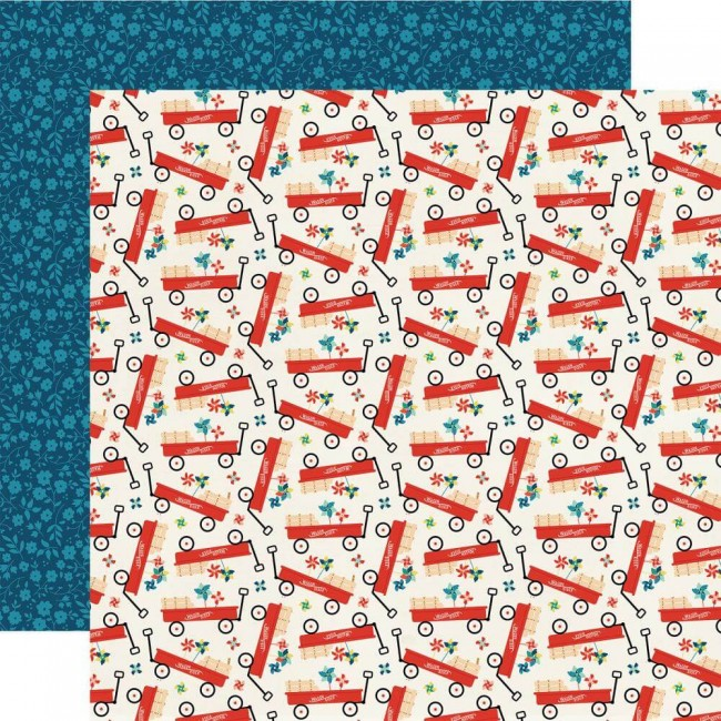 Papel Estampado Doble Cara 12x12 Good Day Sunshine Little Red Wagon