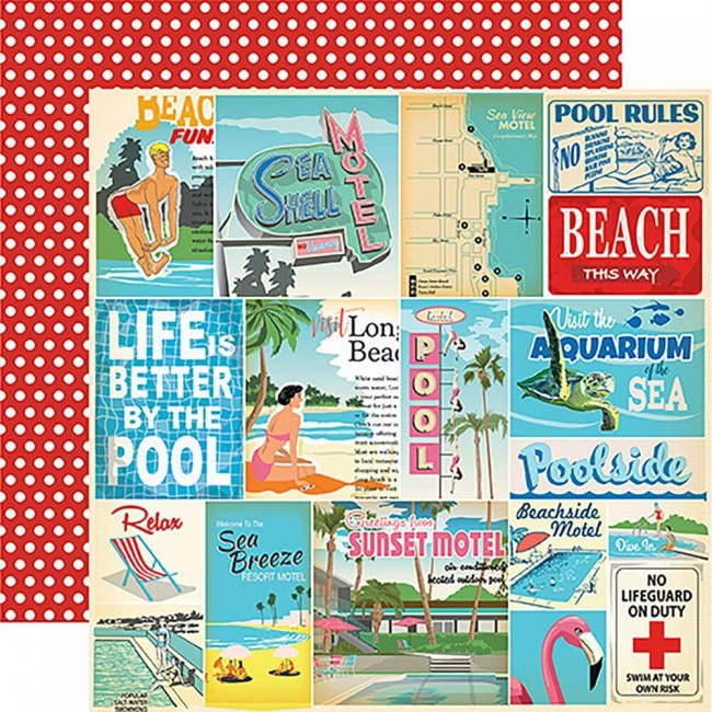 Papel Estampado Doble Cara 12x12 Summer Splash Vacation Journaling Cards