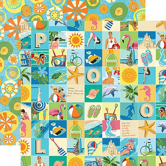 Papel Estampado Doble Cara 12x12 Summer Splash Beach Squares