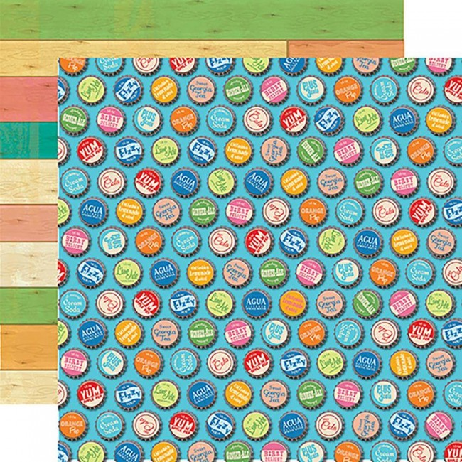 Papel Estampado Doble Cara 12x12 Summer Splash Bottle Caps