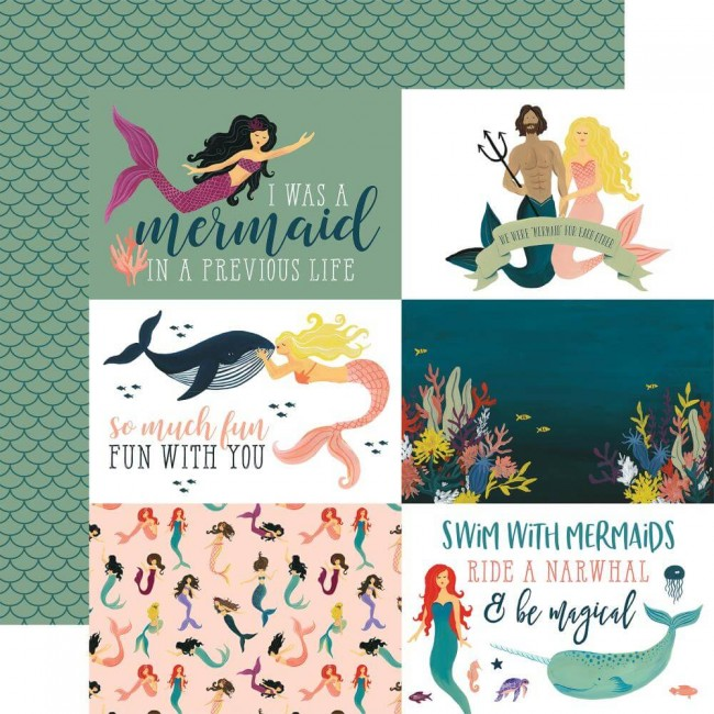 Papel Estampado Doble Cara 12x12 Mermaid Tales 4x6 Journaling Cards