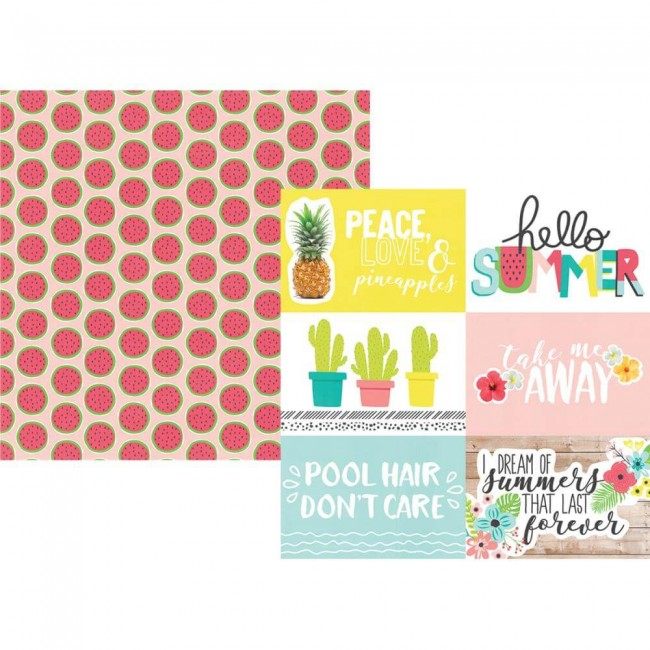"Papel Estampado Doble Cara 12x12 Hello Summer 4""X6"" Horizontal Elements"