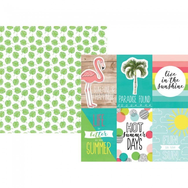 "Papel Estampado Doble Cara 12x12 Hello Summer 4""X6"" Vertical Elements"