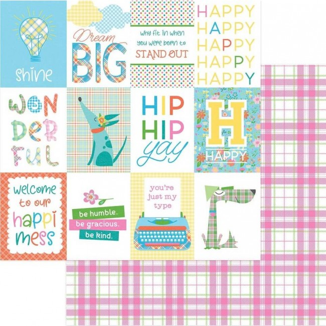 Papel Estampado Doble Cara 12x12 Mad 4 Plaid Happy Happy Day