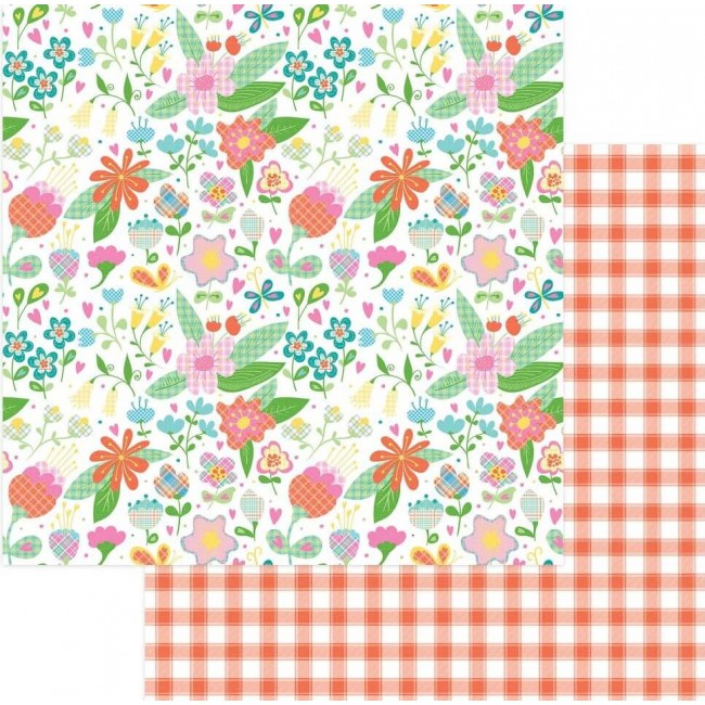 Papel Estampado Doble Cara 12x12 Mad 4 Plaid Happy Flowers