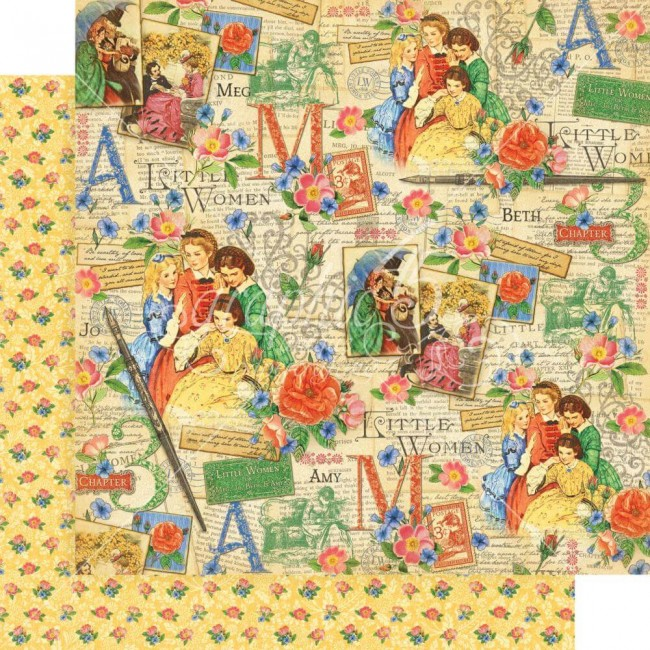 Papel Estampado Doble Cara 12x12 Little Women Sisterly Love