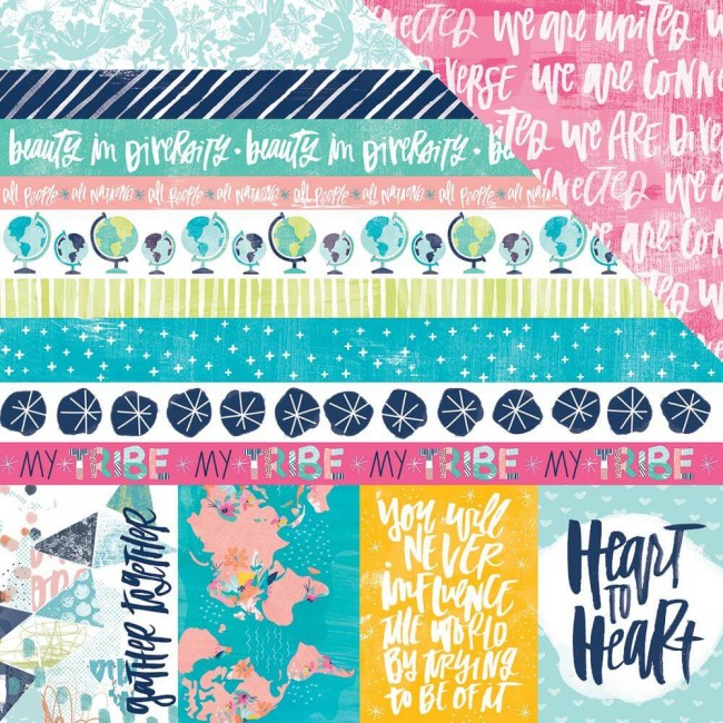 Papel Estampado Doble Cara 12x12 All People All Nations 3x4