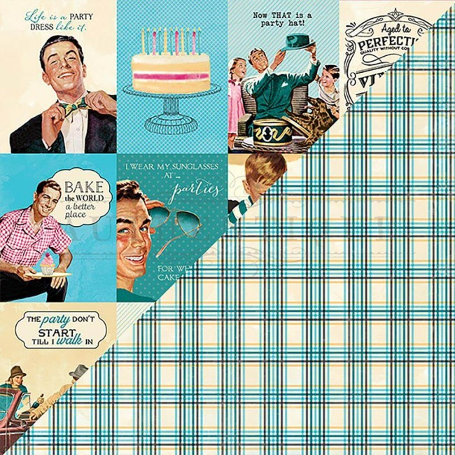 "Papel Estampado Doble Cara 12x12 Party #7 Cut-Apart 3""X4"" Vintage Guy Cards"