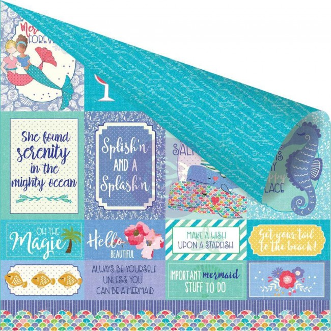 Papel Estampado Doble Cara 12x12 Mermaid Kisses Mermaids Forever