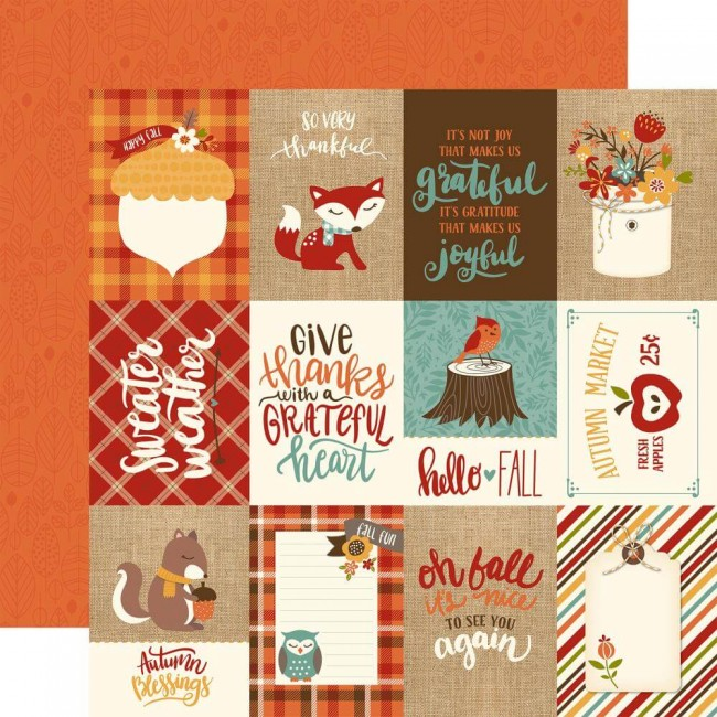 "Papel Estampado Doble Cara 12x12 Celebrate Autumn 3""X4"" Journaling Cards"