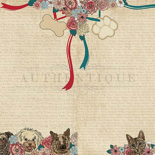 Papel Estampado Doble Cara 12x12 Companions #5 Dog/Cat Faces