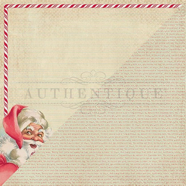 Papel Estampado Doble Cara 12x12 Jingle #1 Retro Santa