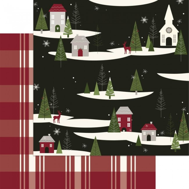 Papel Estampado Doble Cara 12x12 Winterberry Over The River