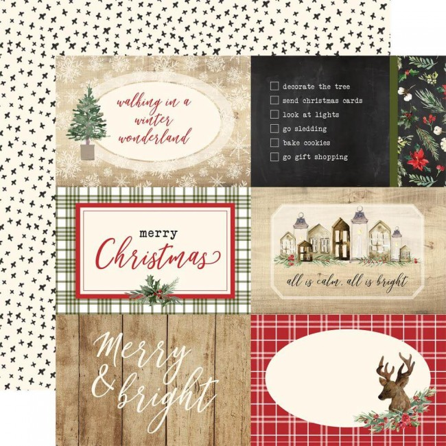 "Papel Estampado Doble Cara 12x12 Christmas 4""X6"" Journaling Cards"