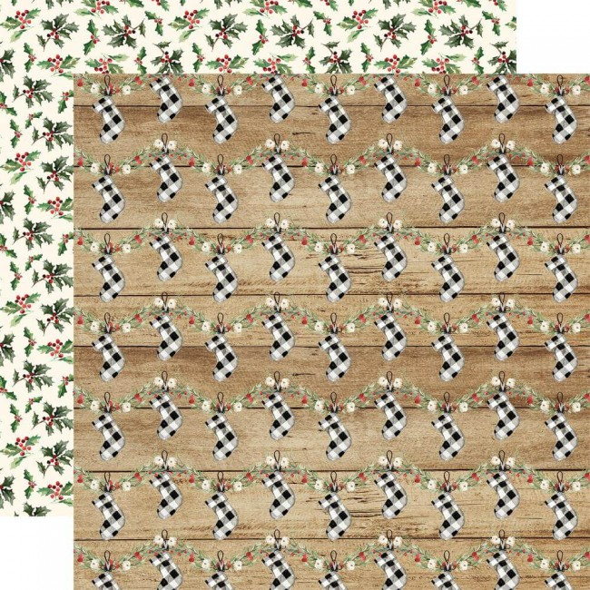 Papel Estampado Doble Cara 12x12 Christmas Cheery Stockings