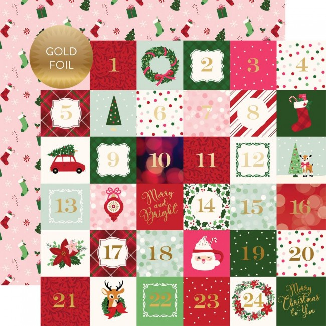 "Papel Estampado Doble Cara 12x12 Merry & Bright 2""X2"" Journaling Cards"