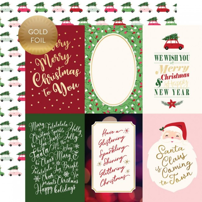 "Papel Estampado Doble Cara 12x12 Merry & Bright 4""X6"" Journaling Cards"