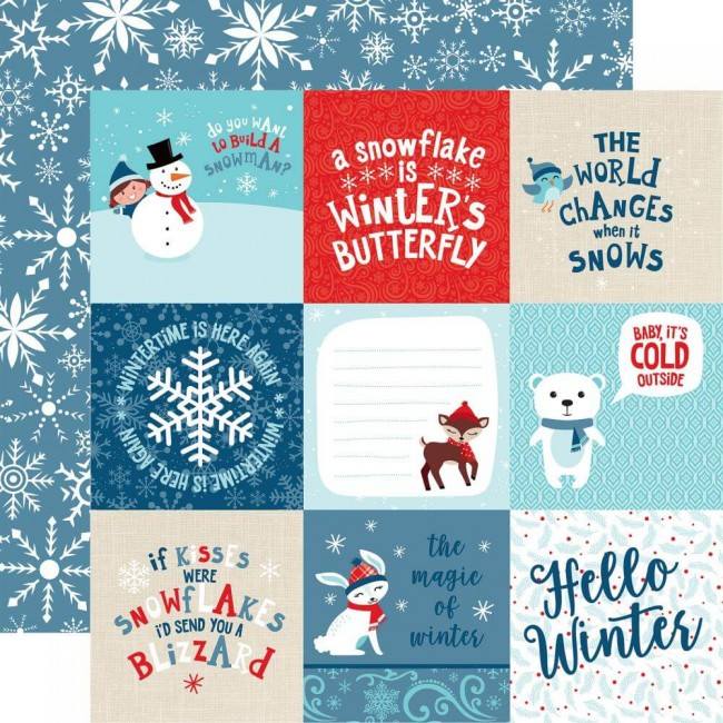 Papel Estampado Doble Cara 12x12 Celebrate Winter 4x4 Journaling Cards