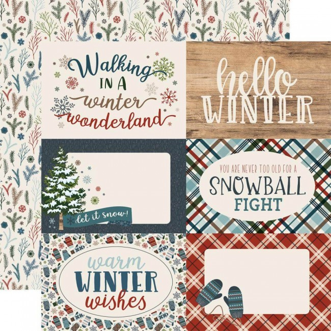 Papel Estampado Doble Cara 12x12 Let It Snow 4x6 Journaling Cards