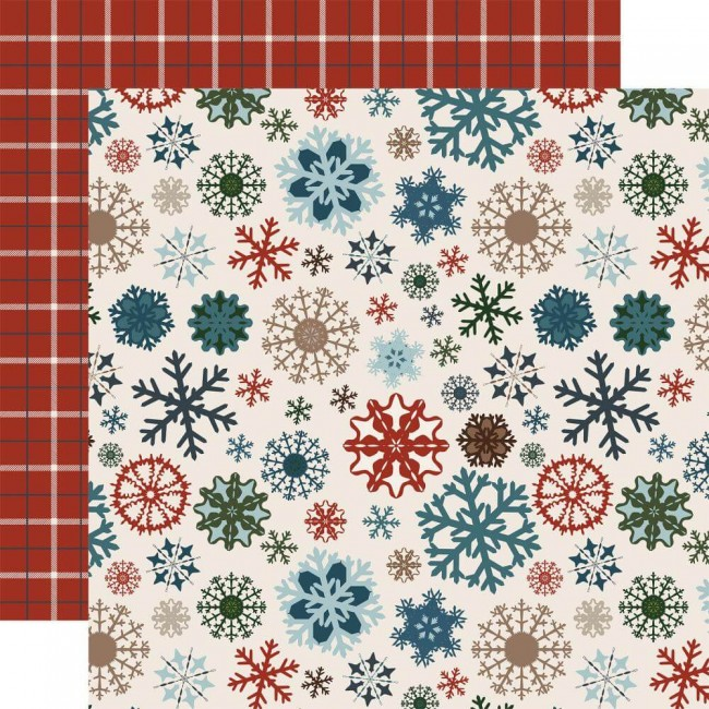 Papel Estampado Doble Cara 12x12 Let It Snow Glistening Snowflakes