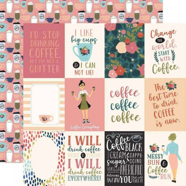"Papel Estampado Doble Cara 12x12 Coffee 3""X4"" Journaling Cards"