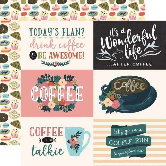 "Papel Estampado Doble Cara 12x12 Coffee 4""X6"" Horizontal Journaling Cards"