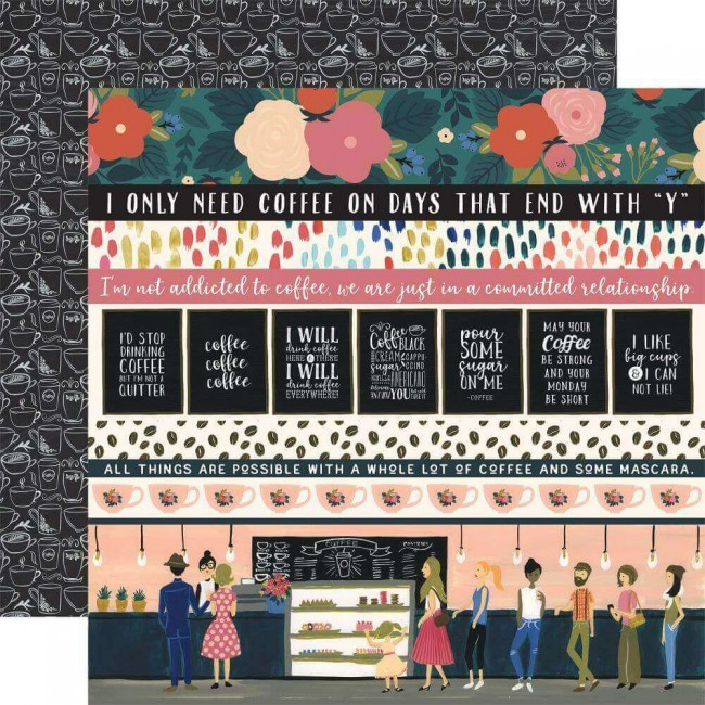 Papel Estampado Doble Cara 12x12 Coffee Border Strips