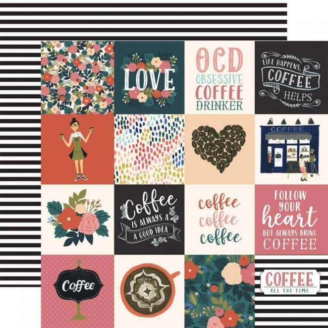"Papel Estampado Doble Cara 12x12 Coffee 3""X3"" Journaling Cards"