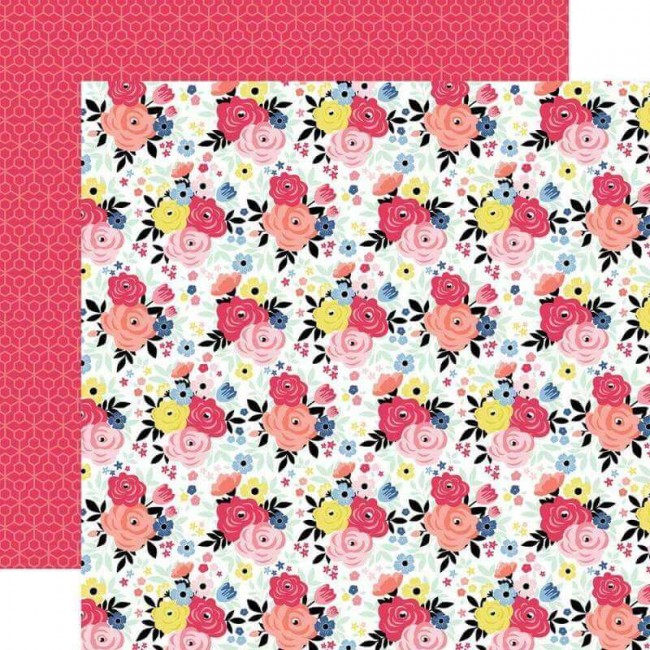 Papel Estampado Doble Cara 12x12 I Am Mom Give Mom Flowers