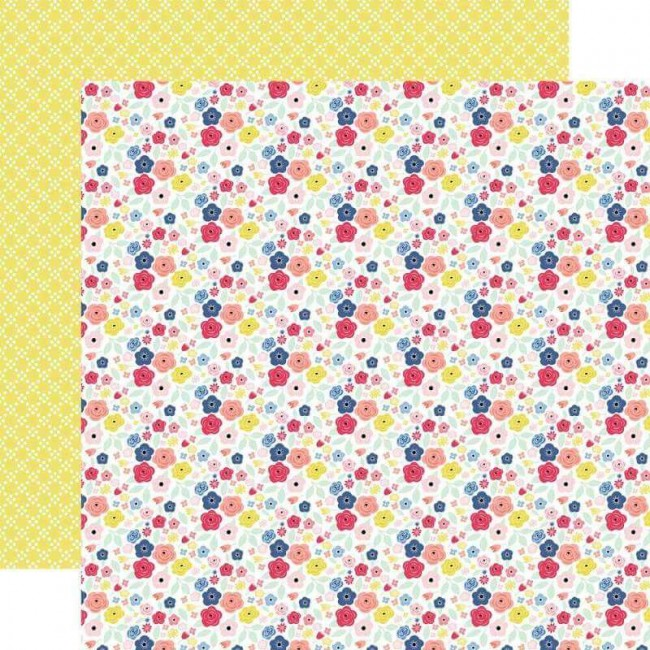 Papel Estampado Doble Cara 12x12 I Am Mom Mini Floral