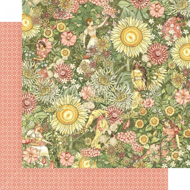 Papel Estampado Doble Cara 12x12 Garden Goddess Thoughtfully Planted