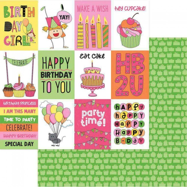 Papel Estampado Doble Cara 12x12 Birthday Girl Wishes Celebrate