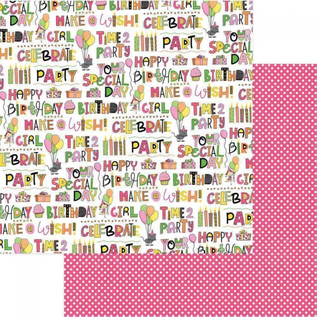 Papel Estampado Doble Cara 12x12 Birthday Girl Wishes Your Special Day