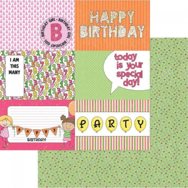 Papel Estampado Doble Cara 12x12 Birthday Girl Wishes Hip Hip Hooray