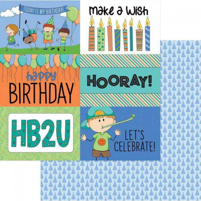 Papel Estampado Doble Cara 12x12 Birthday Boy Wishes It's Your Day