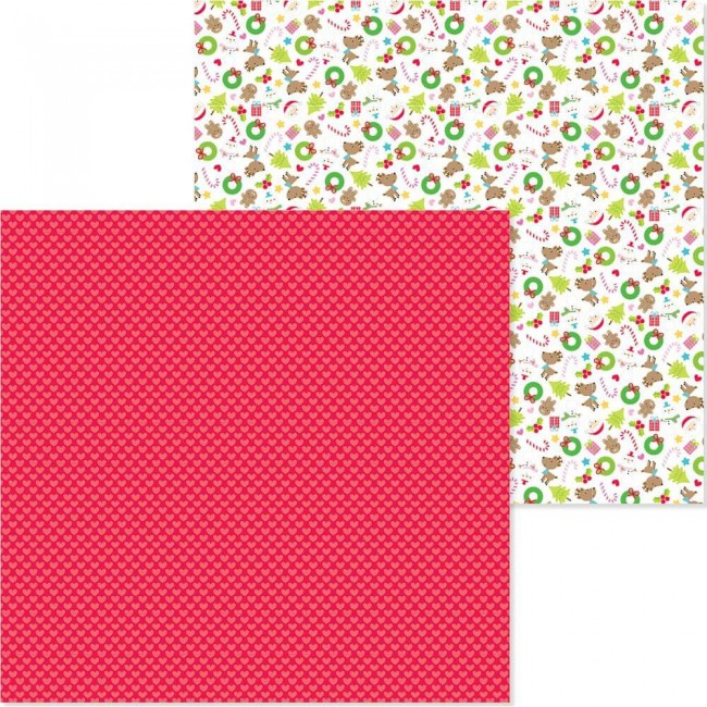 Papel Estampado Doble Cara 12x12 Christmas Town Merry Hearts