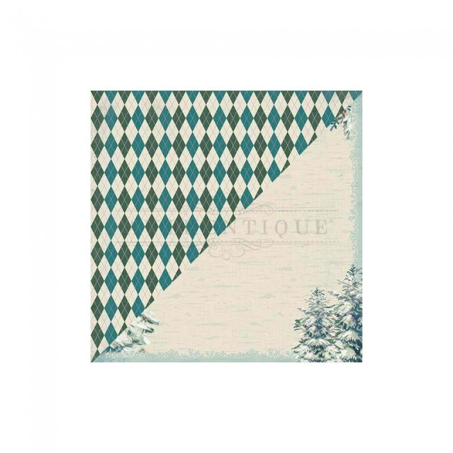 Papel Estampado Doble Cara 12x12 Solitude #3 Argyle Plaid