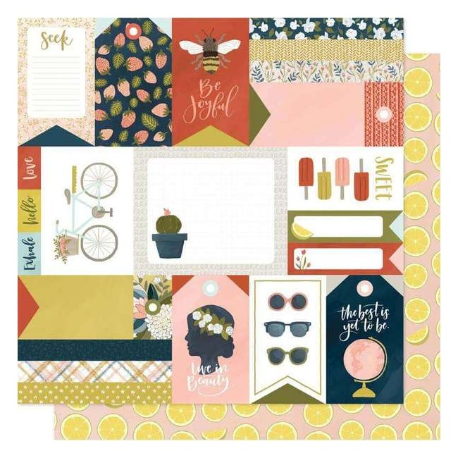 Papel Estampado Doble Cara 12x12 Goldenrod Lemonade