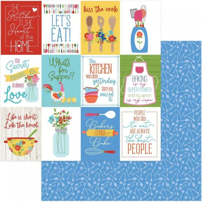 Papel Estampado Doble Cara 12x12 What's Cooking Kiss The Cook