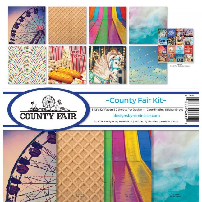 Kit Papeles Estampados 12x12 County Fair