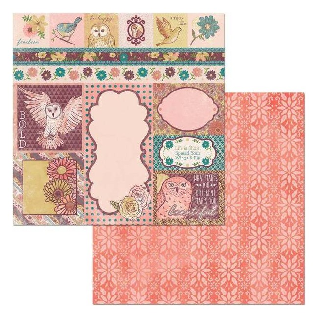 Papel Estampado Doble Cara 12x12 Floral Spice Beautiful