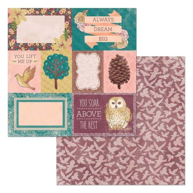 Papel Estampado Doble Cara 12x12 Floral Spice Take Flight