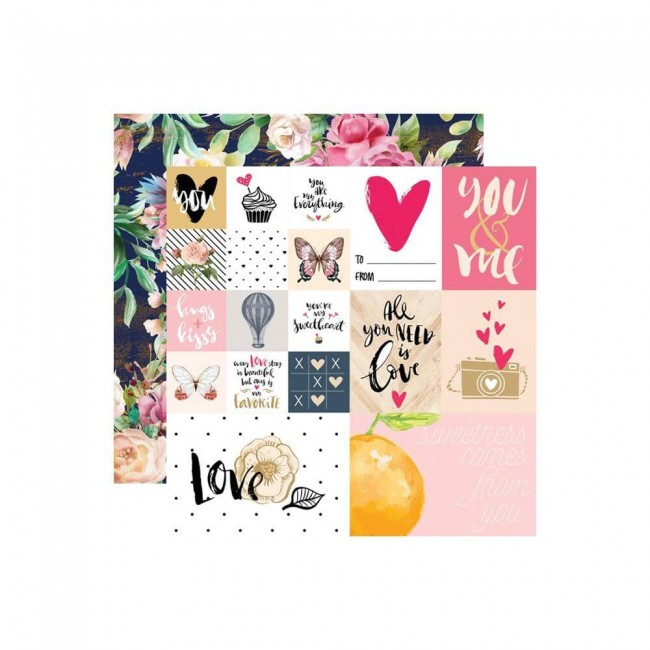 Papel Estampado Doble Cara 12x12 Love Is In The Air You & Me