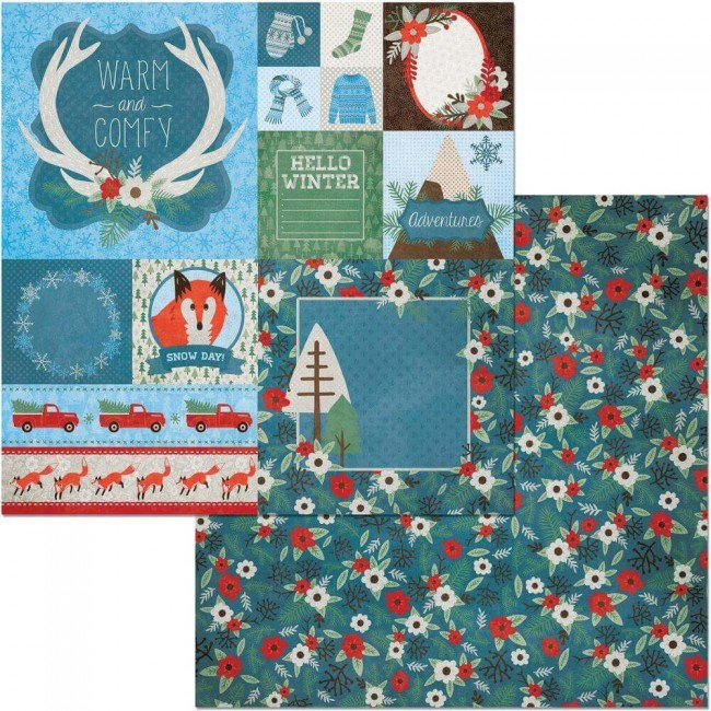 Papel Estampado Doble Cara 12x12 Winter Getaway Branches