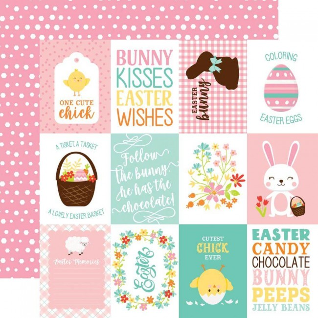 """Papel Estampado Doble Cara 12x12 Easter Wishes 3""""X4"""" Journaling Cards"""